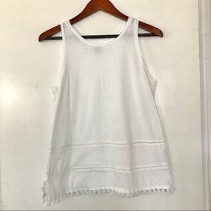 Old Navy white tank top small tassels